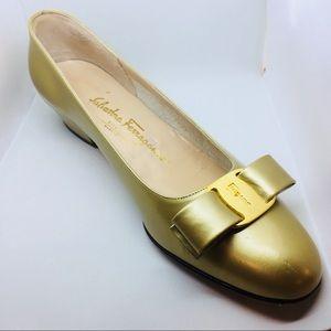 Salvatore Ferragamo Gold Heel Flats